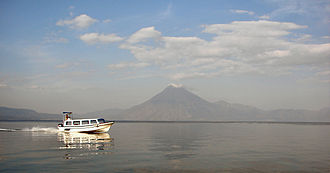 Lake Atitlán - A view across Lake Atitlán from Panajachel to Volcán San Pedro