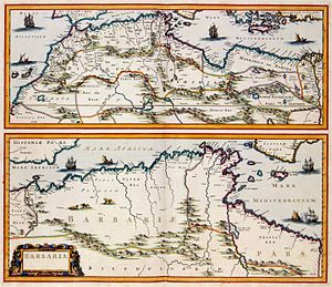 "Barbary Coast - A 17th-century map by the Dutch cartographer Jan Janssonius showing the Barbary Coast, here ""Barbaria"""