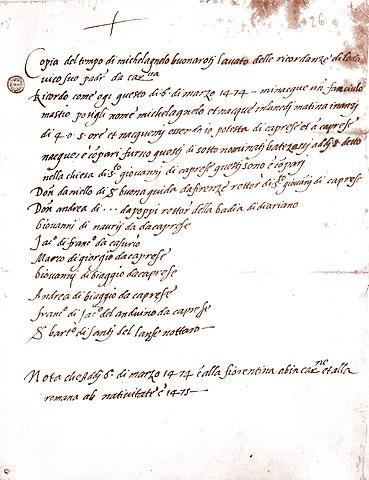 Копия записи о рождении Микеланджело