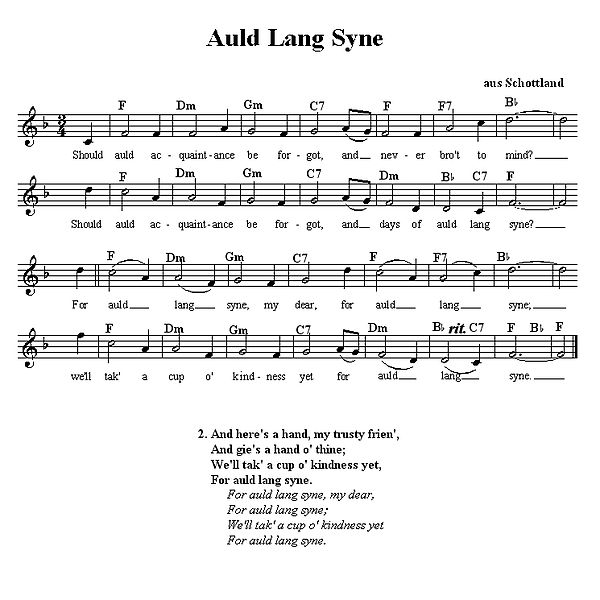 New Year celebrations – the meaning of Auld Lang Syne