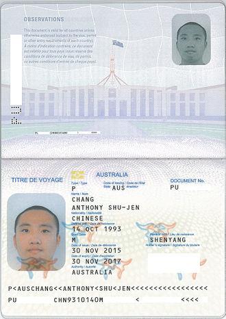Refugee travel document - Image: Australian Titres de Voyage Bio data Page