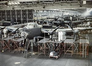 Avro Lancaster - Lancaster bombers on Avro's Woodford assembly line at Cheshire, 1943