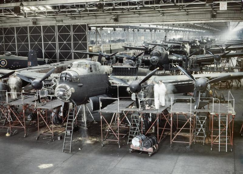 Avro Lancaster bombers nearing completion at the A V Roe & Co Ltd factory at Woodford in Cheshire, 1943