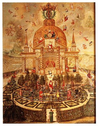 Antonia of Württemberg - Central panel of the opened Kabbalistic Lehrtafel of Princess Antonia.  The soul stands at the threshold of the garden of paradise, depicted in a dense web of esoteric symbolic imagery.