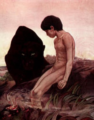 Kaa's Hunting - Bagheera and Mowgli in an illustration from the Detmold twins' The Jungle Book (1908)