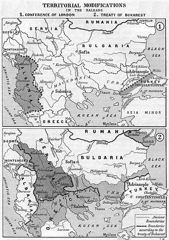 Treaty of Bucharest (1913) - Borders of the Balkan states after the Treaty of Bucharest (below)