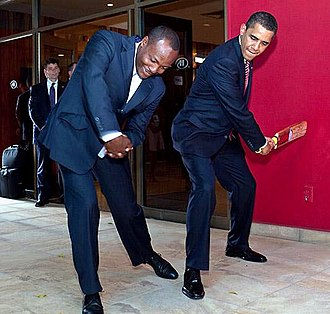 "Brian Lara - Barack Obama and Lara during the US President's tour of Trinidad and Tobago in 2009. Obama had asked to meet Lara, whom he described as the ""Michael Jordan of cricket""."