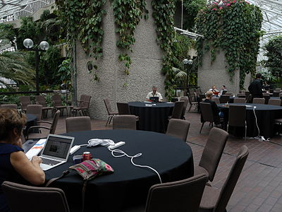 Barbican conservatory terrace at 11am on Friday of Wikimania 2014 01.jpg