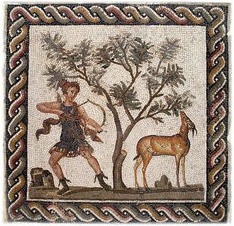 Deer hunting - A Roman mosaic depicting the goddess Diana deer hunting.