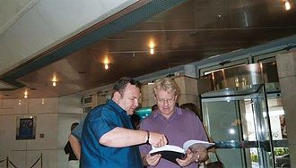 Chris Barfoot - Jerry Springer learning his lines for a Chris Barfoot production.