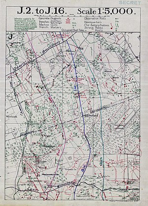 Battle of the Menin Road Ridge - Image: Battle of Menin Road objective lines map