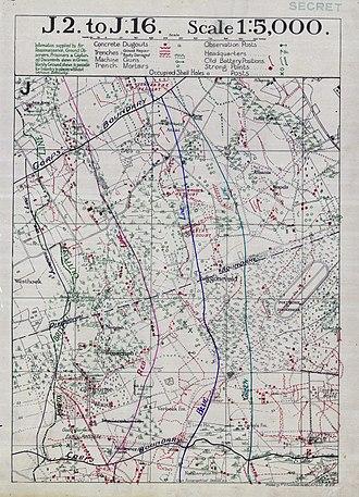Battle of the Menin Road Ridge - Image: Battle of Menin Road objective lines map