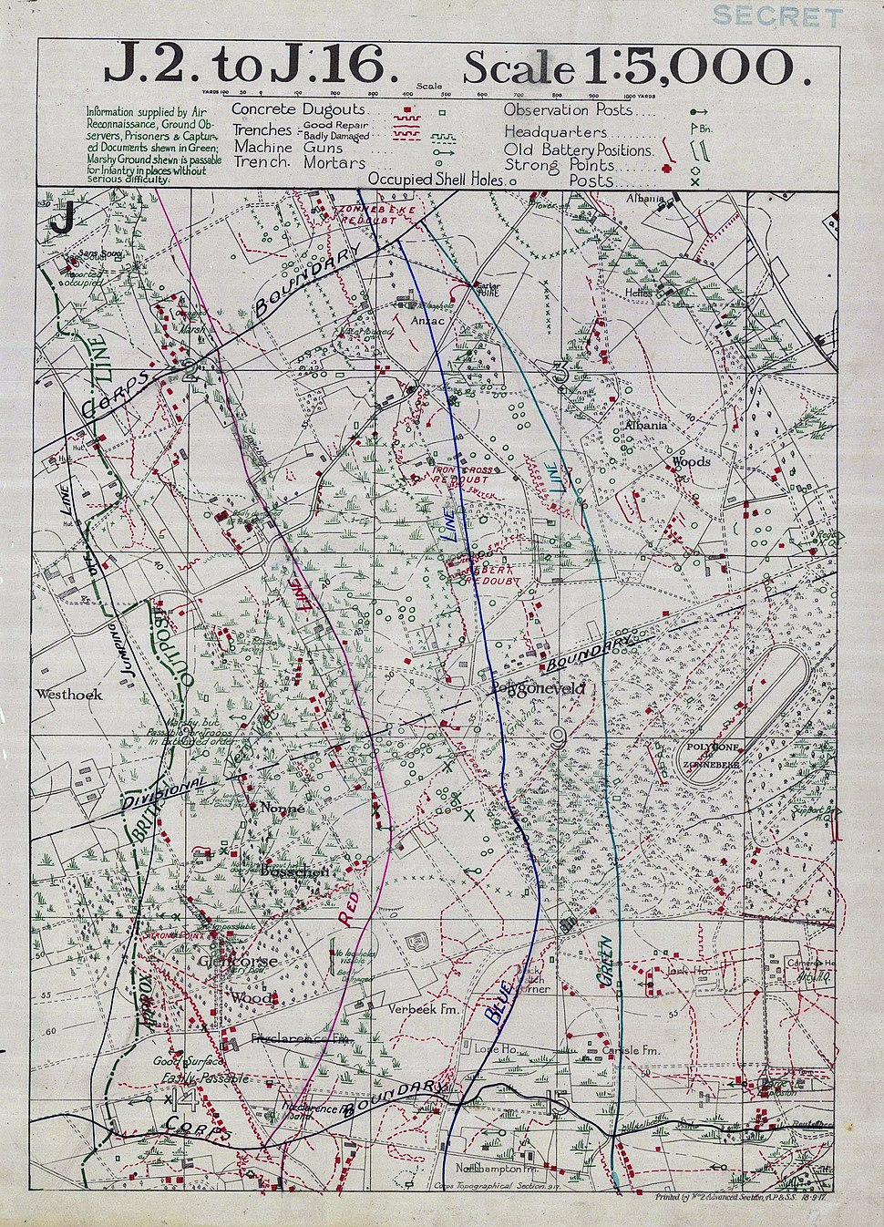 Battle of Menin Road - objective lines map