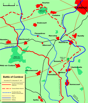 Masnières Newfoundland Memorial - Battle lines showing the progressions of the Battle of Cambrai. Masnières is in the upper centre of the right side of the map.