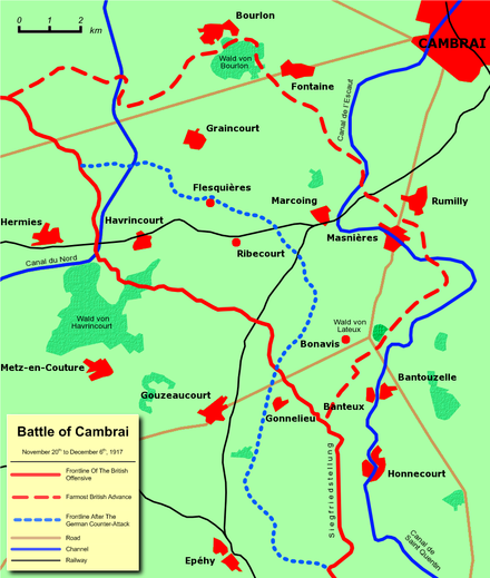 Frontlines before and after the battle Battle of cambrai 1 - front lines.png
