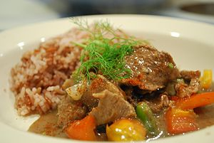 Beef Stroganoff - Beef Stroganoff cooked with paprika and served with rice