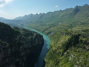 Beipan River - The Beipan River from the Beipanjiang Suspension Bridge (built 2003) in Zhenfeng County.