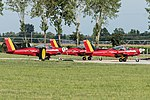 Belgium - Air Force Red Devils SIAI-Marchetti SF-260M ST-23 (cn 10-23) and ST-34 (cn 10-34) and ST-36 (cn 10-36) ready for takeoff (21469625463).jpg