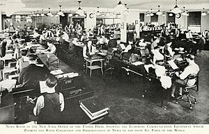 United Press International - News room of United Press in New York, 1933