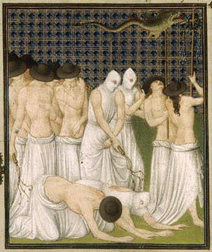 Belles Heures of Jean de France, Duc de Berry - Detail of procession of flagellants