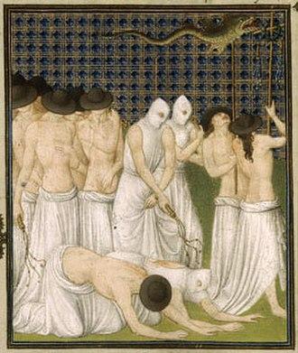 Belles Heures of Jean de France, Duc de Berry - Detail of procession of flagellants