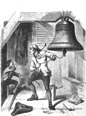 Liberty Bell - The Bellman Informed of the Passage of the Declaration of Independence: an 1854 depiction of the story of the Liberty Bell being rung on July 4, 1776