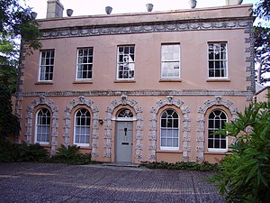 Coade stone - Home of Eleanor Coade, Belmont House, in Lyme Regis, Dorset, with Coade stone ornamental façade