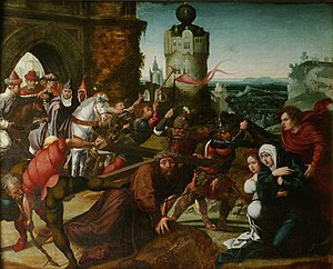 Christ Falls, with the Cross, before a City Gate (part of a triptych)
