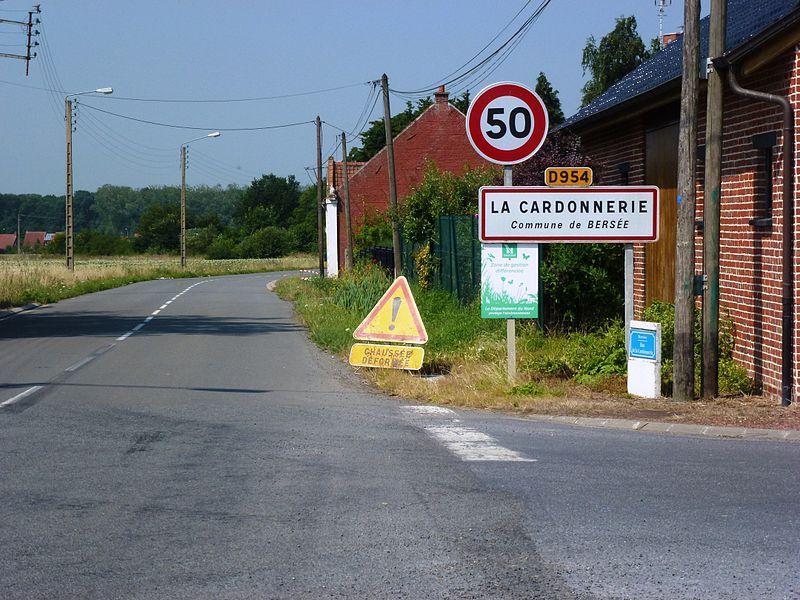 Bersée (Nord, Fr) city limit sign La Cardonnerie