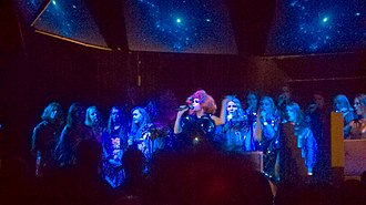 Biophilia Tour - The show, here pictured at the Roseland Ballroom in New York, featured Björk accompanied by an Icelandic choir called Graduale Nobili.