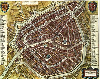 Pieter de Ring - Map of Leiden by Blaeu in 1652