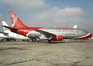 Republicair - A Republicair Boeing 737-277 (XA-RBD) at Mexico City International Airport.