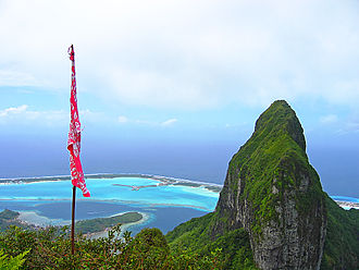 Bora Bora - North-east view of Bora Bora from Mt Pahia