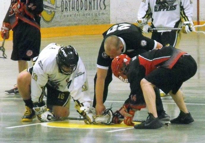 Box lacrosse faceoff