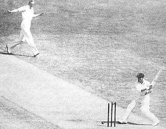 English cricket team in Australia in 1932–33 - Bradman is bowled for nought, 30 December 1932