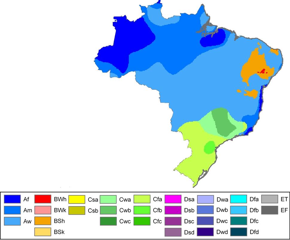 Brazil Köppen Climate Map