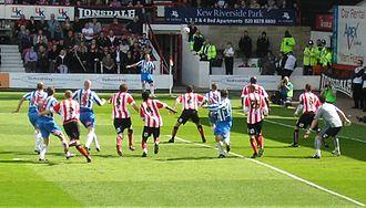 2005–06 Brentford F.C. season - Brentford defending a Hartlepool United corner at Griffin Park in April 2006.