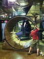 Brian Dunning in the giant hamster wheel at the College of Curiosity.jpg