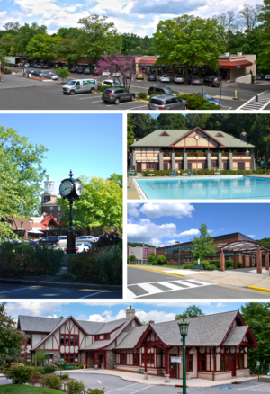 Briarcliff Manor, New York - Clockwise from top: the Village Center; village pool at Law Memorial Park; Briarcliff High School; Briarcliff Manor Public Library; village clock and Municipal Building.