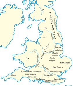 A map showing the general locations of the Anglo-Saxon peoples around the year 600