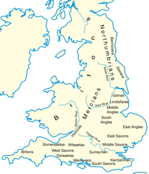 Southern Great Britain in AD 600 after the Anglo-Saxon settlement, showing England's division into multiple petty kingdoms.