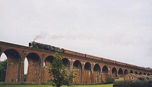 BR Standard Class 7 70000 Britannia - Britannia on a charter train on Whalley Viaduct in 1994