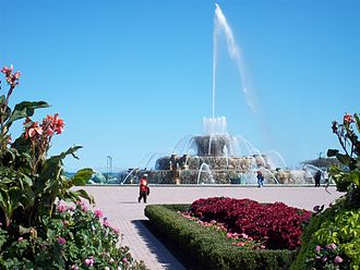 Buckingham Fountain - Surrounded by seasonal plantings and gardens, the fountain periodically shoots water high into the air.