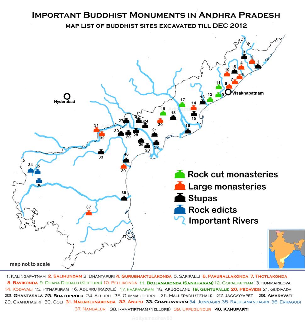 Buddhist sites Map of Andhra Pradesh