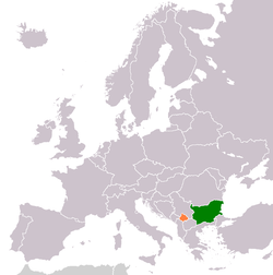 Map indicating locations of Bulgaria and Kosovo