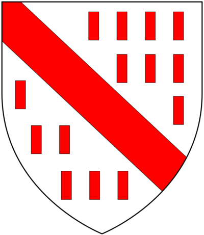 Arms of Bulteel: Argent biletee gules, a bend of the last BulteelArms.png