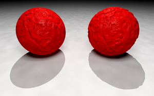 Bump mapping - Bump mapping is limited in that it does not modify the shape of the underlying object. On the left, a mathematical function defining a bump map simulates a crumbling surface on a sphere, but the object's outline and shadow remain those of a perfect sphere. On the right, the same function is used to modify the surface of a sphere by generating an isosurface. This models a sphere with a bumpy surface with the result that both its outline and its shadow are rendered realistically.