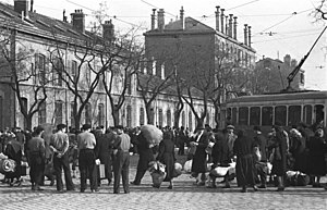 René Bousquet - Jews are gathered before deportation during the Round up of Marseille, 24 January 1943, under the surveillance of French Militians.