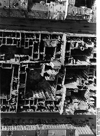 Strategic bombing - Destroyed townhouses in Warsaw after the German Luftwaffe bombing of the city, September 1939
