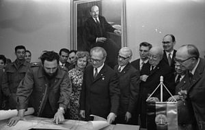 "Ernst Thälmann Island - Berlin, 19 June 1972: Fidel Castro (left) handed over, after the signing of the communiqué, a Cuban map to Erich Honecker (centre). The map shows an island that bears the name ""Ernst Thälmann"" and the southern area is named ""GDR Beach"" (Playa RDA)."